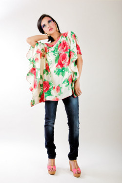 Printed silk satin tunic